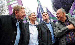 Len McCluskey, Dave Prentis, Ed Balls and a protestor