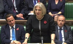 Britain's Home Secretary Theresa May speaks to parliament in this still image taken from video in London