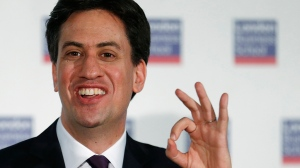 Britain's opposition Labour Party Leader Ed Miliband speaks at the London Business School in London